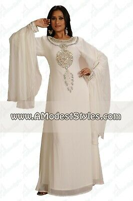 White DUBAI ABAYA KAFTAN Hijab Muslim Islam Wedding Dress *USA SELLER* MD0558