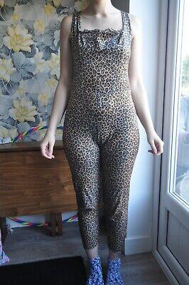 vintage unbranded hand made leopard print velvet velour jumpsuit stretchy M/L