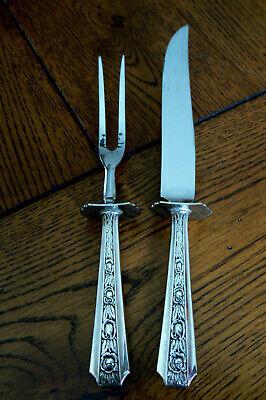 Vintage Sterling Silver Handle Meat Fork Knife Set W Hallmark FREE US SHIP (Meat Fork Set)
