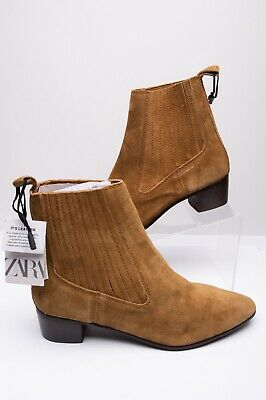 Zara Womens Mid-Height Heeled Cowboy Ankle Boots Sz 11 Eu 42 Suede 6190/001