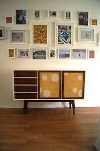 Upcycled Midcentury Modernist Buffet in White, Patterned Doors Camden Park West Torrens Area Preview