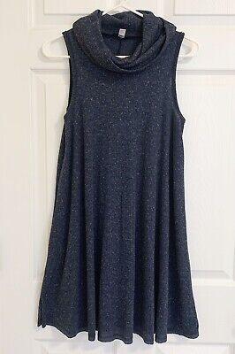 BDG Sweater Dress Sleeveless Cowl Neck Ribbed Blue Speckled Size S Sleeveless Cowl Neck Dress