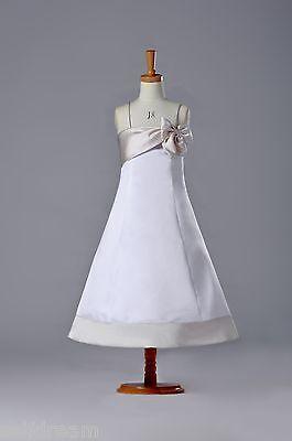 G117 White Flower Girl Dress Cheap Satin Bow Girl Dress](Girls Cheap Dresses)
