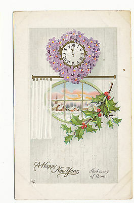B418 1910 POSTCARD NEW YEARS GREETING VIOLET DECORATED CLOCK SER 336 B](New Years Decorating)