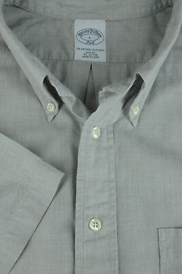 Brooks Brothers 346 Men's Light Gray End On End Casual Cotton Shirt L Large