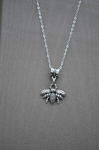 Silver Bumble Bee Pendant Sterling Silver Necklace 925 USA
