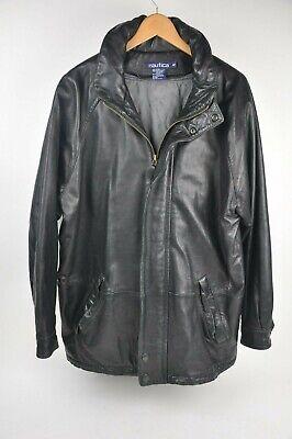 NAUTICA Classic Black Leather Coat Hood insulated Quilt Lining Full Zip 42