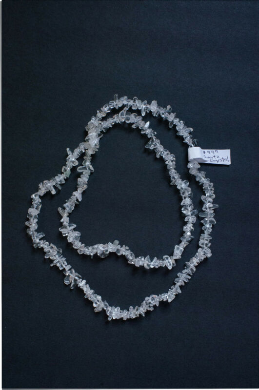 Quartz clear crystal rock beautiful necklace 34 inches