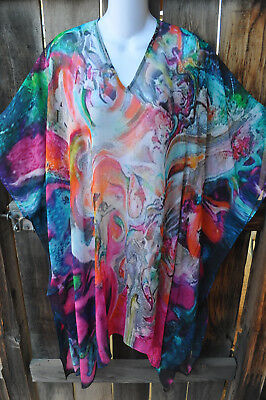 Dilemma Hand Painted Stella Inspired Crepe De Chine Art To Wear Long Poncho