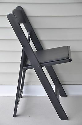 4 Commercial Folding Chairs Black Resin Party Event Dining Chair Wpadded Seat