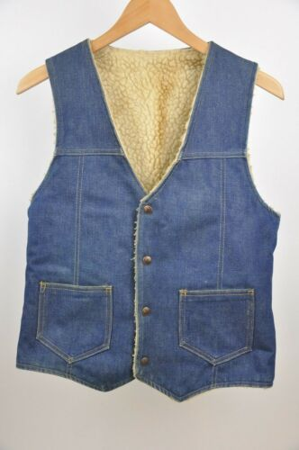 Vintage Sherpa Lined Denim Vest Size Small pockets snap up western