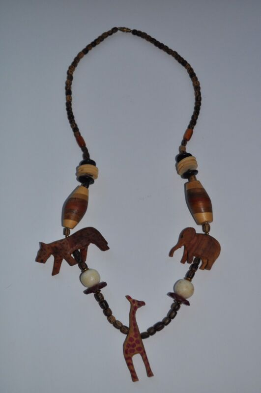 Statement Necklace Carved Wood African Safari Animals Jewelry Chunky Vintage