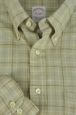 Brooks Brothers 1818 Men's Brown Blue & White Irish Linen Casual Shirt L Large