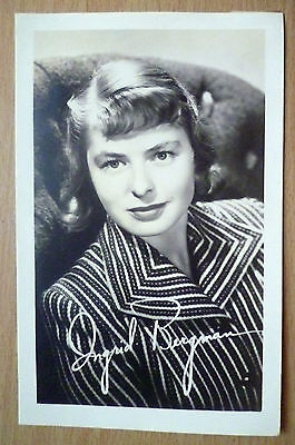 Film Star Real Photograph- INGRID BERGMAN with printed Autograph