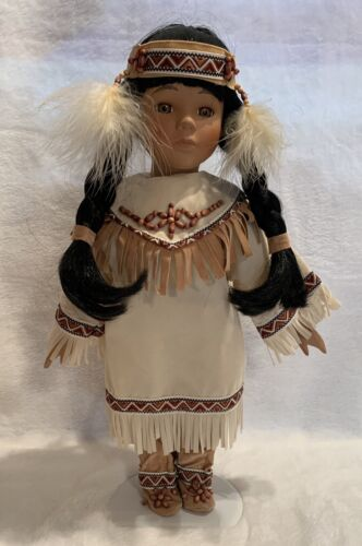 Vintage Native American Mom And Baby Porcelain Doll Papoose EUC  - $10.00