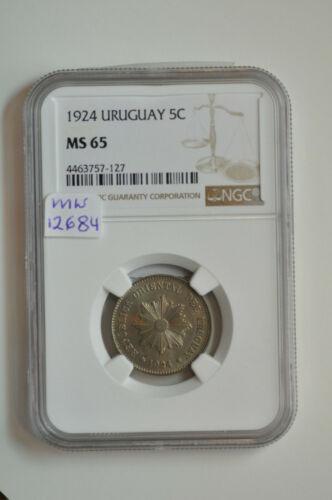 mw12684 Uruguay; 5 Centavos 1924   KM#21   NGC MS 65