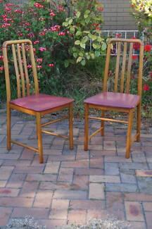 Pair Retro Modern Danish Style Kitchen Dining Chairs Red
