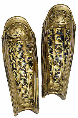 Leg Armor Pair 2 Pcs Gold New Spartan Roman Greek Spartacus Mark Anthony (Roman Spartacus Kostüm)
