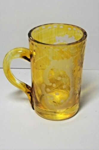 Charming Amber Flash and  etched Bohemian  Miniature Cup, Cordial Liqueur Mug