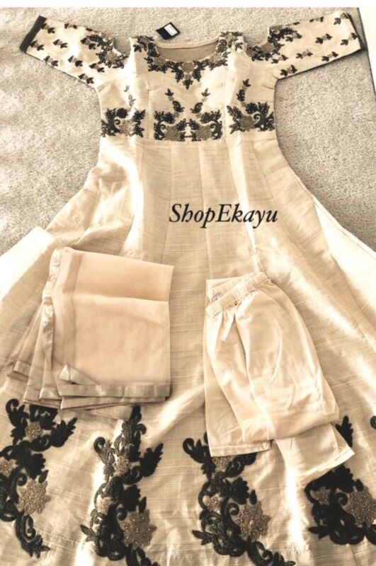 Indian/Pakistani party wear floor length anarkali with cold shoulders