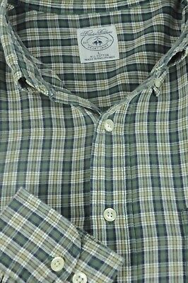 Brooks Brothers Men's Green White & Blue Geometric Casual Cotton Shirt L Large