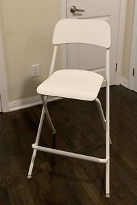 4 IKEA Franklin Bar stools with backrest, foldable, white