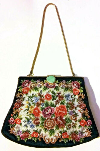 Antique Chinese Silk Embroidery Jade Embroidered Qing Art Deco Purse Exquisite!
