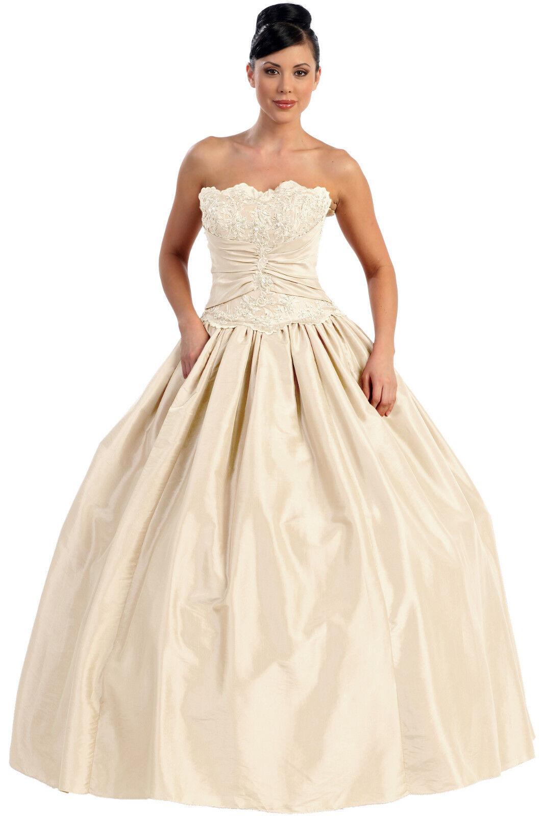 Brautkleid Hochzeitskleid Sissi-Kleid Ballkleid Corsagenkleid Taft Spitze Gr.34