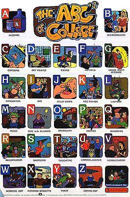 DORM POSTER~Vintage 1997 Funny Alphabet A-Z College ABC's Each Letter