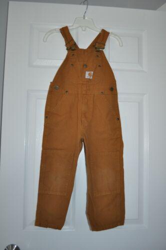 CARHARTT Brown Bib Overalls Reinforced Knees Boys Kids Size 4 EUC