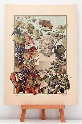 """Farb-Lithographie Plate 167 Wein Gott 1886 """"Die Pflanze in Kunst und Gewerbe"""""""