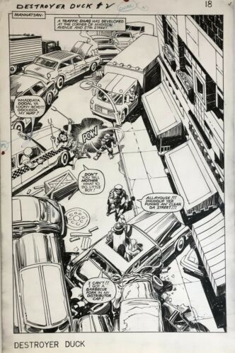 JACK KIRBY - DESTROYER DUCK SPLASH - ECLIPSE COMICS 1983 - ORIGINAL ART!