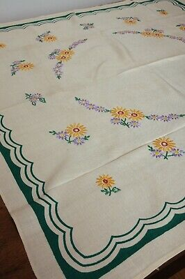 Vintage hand embroidered Floral Bordered Green linen tablecloth Daisy Chain