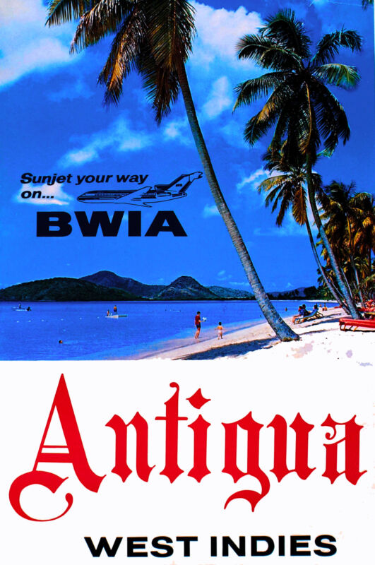 Antigua West Indies Caribbean Island Way Vintage Travel Art Poster Advertisement