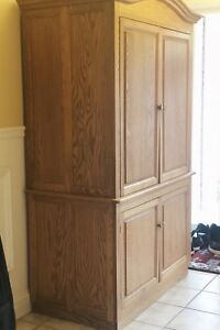 Armoire, Tv Stand, and Entertainment Centre (Solid Oak)