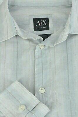 Armani Exchange Men's Gray & Silver Striped Cotton Blend Casual Shirt XS XSmall