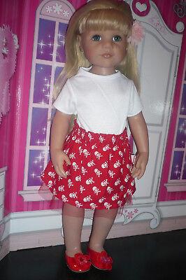 Puppenkleidung 50cm Stehpuppe Hannah Piratenrock, rot, Shirt, Schuhe Piraten-kleidung