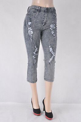 NEW Women Junior PLUS CURVY FIT Stretchy denim Capri ripped  snow  wash NC-044