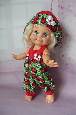 HAND MADE :LADYBIRDS ROMPER/HAT :COMPATIBLE WITH GALOOB BABY FACE DOLL