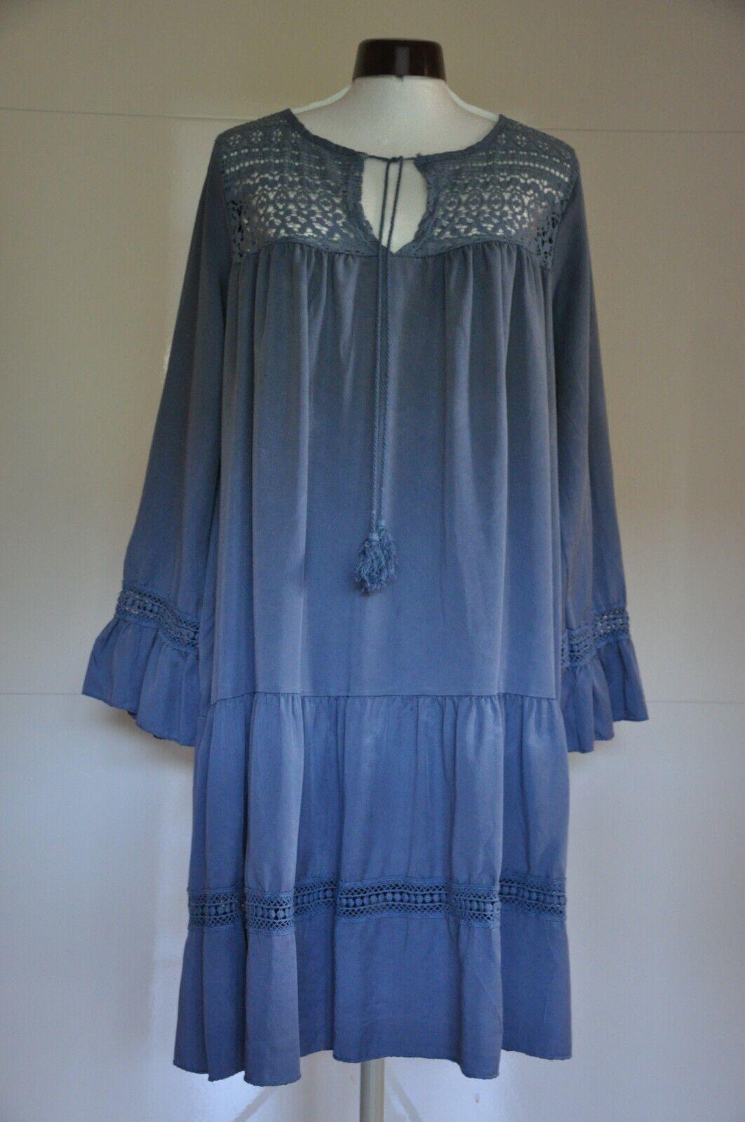 Ibiza Mode blaues Boho Hippie Kleid, Gr. M / 38, neu