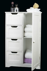 White Wooden Storage Cabinet Four  Drawers & Door, bathroom,bedroom Freestanding