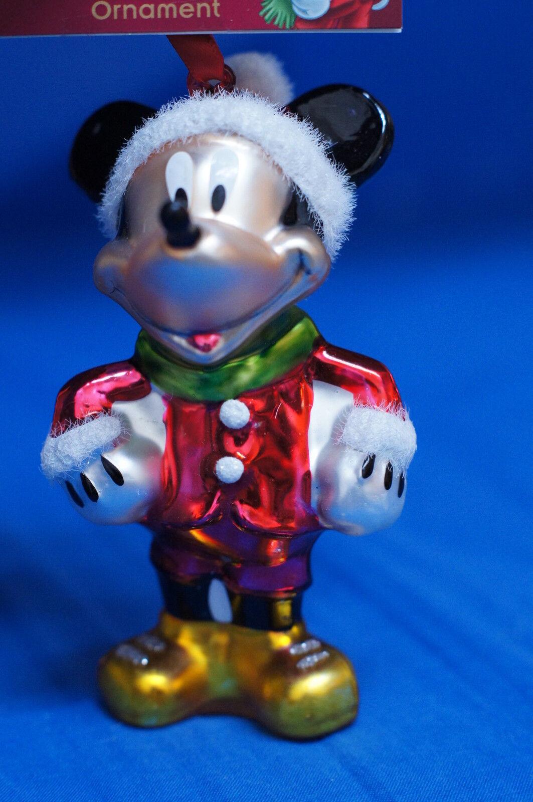 Disney Mickey Mouse Santa Blown Glass Figurine Christmas Ornament W/ Tag 2012