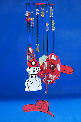 Firefighter Fireman Fire Department Dalmatian Hat Axe Hydrant Windchime 11941