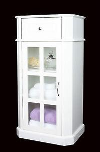 White-Wood-Glazed-Door-Storage-Cabinet-Unit-Cupboard-bathroom-or-bedroom