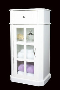 White Wooden Storage Cabinet drawer & Glazed Door bathroom,bedroom Freestanding