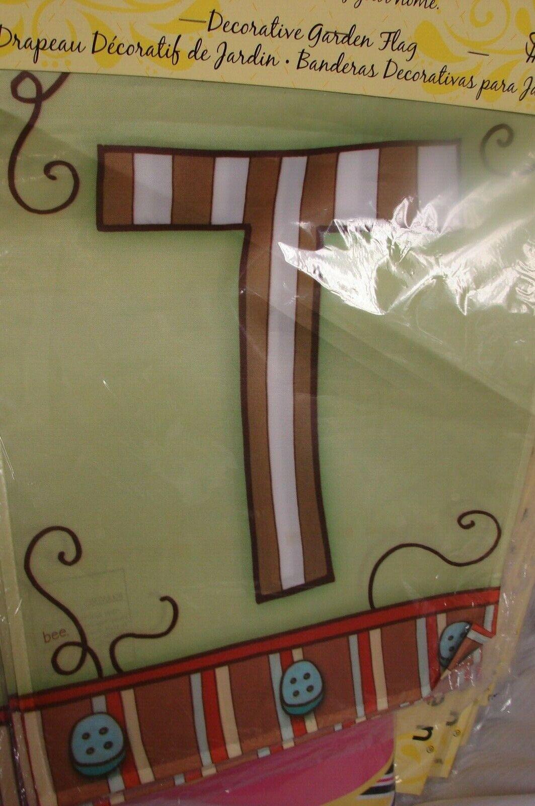 Monogram Letter T Garden Flag evergreen Glow in the Dark 12.