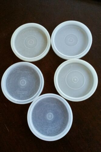 """Lot of 5 Tupperware Sheer #296 Replacement Lids - Two Vintage Tupper Seal 2.75"""""""