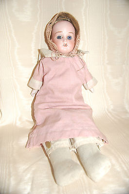 Antique Bisque German Doll, Real Hair, Orig  Outfit, Leather Body, Bisque Hands