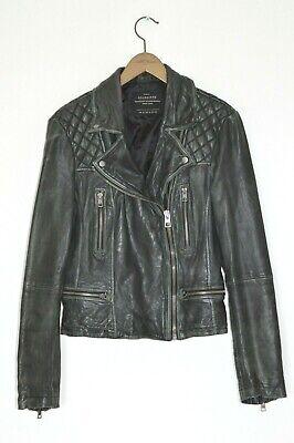 *WOW* AllSaints Ladies CARGO leather Biker Jacket UK14 US10 EU42 Black moto