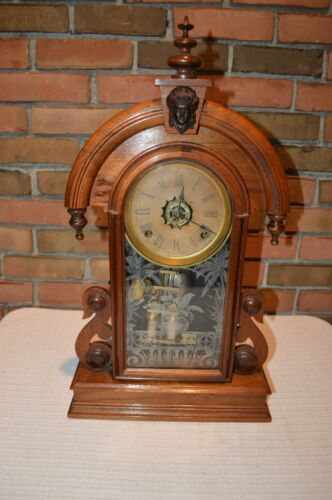 RARE ANTIQUE ANSONIA Walnut & Brass Etched Glass Parlor Mantle Clock EUC